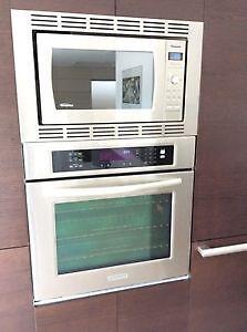 "KitchenAid 27"" wall oven, white,  Panasonic Microwave Convection"