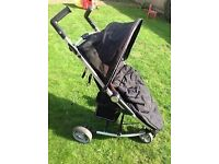 Petite Star Zia Black Compact Fold Stroller Pushchair with footmuff and raincover