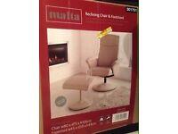 Malta ivory/cream Recliner Chair & Footstool rrp £99