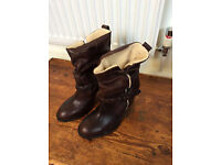River Island Size 8 Dark Brown Distressed Boots NEW