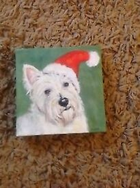 Canvas of a westie