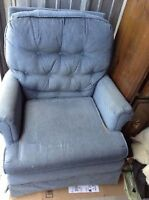 blue armchair can deliver for a fee