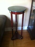 Bombay table plant stand wood marble marbre bois