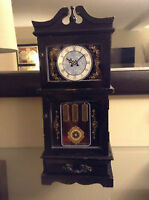 Beautiful Antique musical WOODEN Jewellery Box with Clock Face
