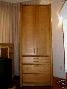 Asian Bedroom Armoire (LOT OF 2 THOMASVILLE $3800 SOLID OAK CLOTHING ARMOIRES ASIAN INSPIRED ZEN)