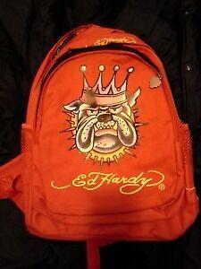 ED HARDY MISHA BULL DOG CROWN RED BACKPACK BAG