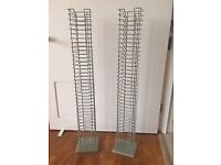 Two metal framed CD tower storage stands - total capacity 140 CD's - grey - s