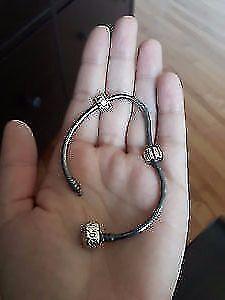Pandora Bracelet - Sterling Silver w/ 2 Clasps