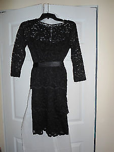"""Size 2 """"Laura' Black Lace Dress - Worn One Time - Was $200 New"""