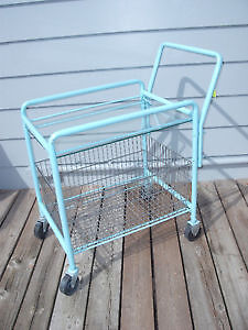 Vintage Two Tier Serving Bar Cart with Glass and Metal Basket