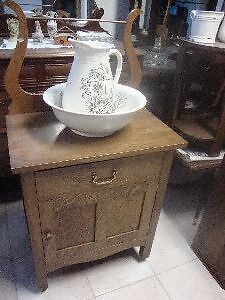 small washstand solid stamped oak