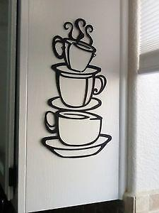 Coffee decor ebay for Kitchen colors with white cabinets with sunset metal wall art