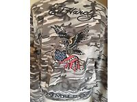 Studded ED HARDY Cotton Zip Up Jacket Hoodie, Distressed, Size Large,