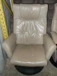 Leather Tan swivel recliner for sale
