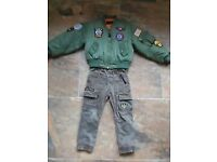 Boys flight bomber jacket with trousers. 3-4 years