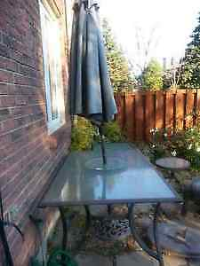 Large Rectangular Patio Table, Umbrella, 2 Side Tables