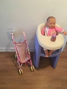 Doll, stroller, high chair and accessories. AVAILABLE