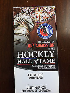 2 Hockey Hall of Fame Tickets. $20 for the pair.