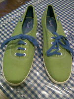 Green KEDS canvas running shoes