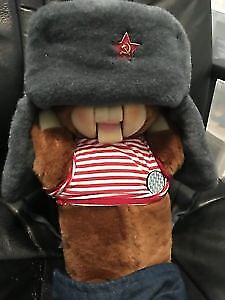 Russian Winter Flap  Hat with Soviet Pin - new