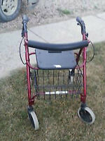 Red and Black 4 wheel walker for sale