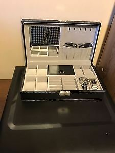 Men's Jewelry Box! Black Leather, Large, New! White Stitching!
