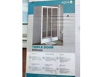 aqua lux 900 x 1850 white framed triple shower door with 900 x 1400 tray new