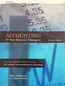 Accounting for non-financial majors, 4th edition, ADMS1500 York