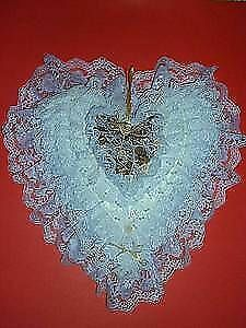 *.. Heart Shaped Pillow ~.~ Pearls,Lace,Ribbons : One-of-A-Kind