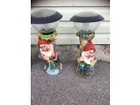 Four garden L.E.D gnomes