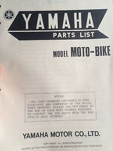 1975 Yamaha BMX Bike Parts List
