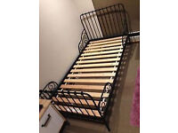 Ikea vintage looking single metal black day bed frame extends to suit toddler or single bed size