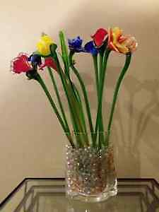 Glass Flowers and Vase