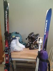 Down Hill Boots, Skis, Binding and Poles