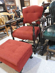 antique vintage arm chair and ottoman.. new fabric and restored