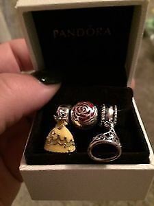 Brand new Beauty and the Beast Disney Pandora charm set