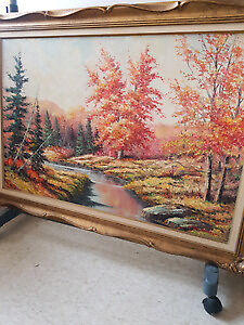 Large autumn scenery painting signed