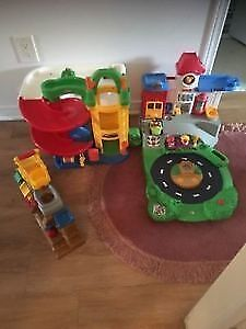 Fisher Price garages with accessories. AVAILABLE