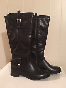 Black Faux Leather Rider Long Zip Boots - Brand New! - $70