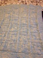 HAND KNITTED BABY BLANKET BLUE  ASKING 25.00 MAKES A NICE GIFT