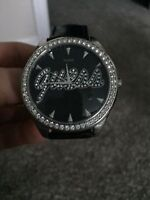REAL Black leather GUESS Diamond watch New - woman's - 100 $ obo