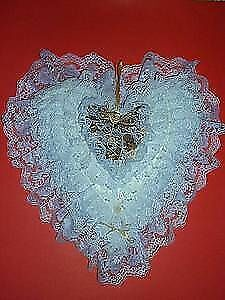 Lace..Ribbons..Pearls :: Heart Shaped Pillow ..One-of-Kind
