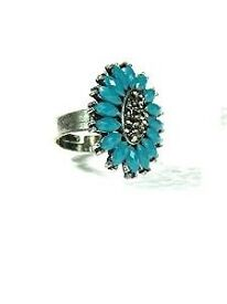 Mogul Interior Women's Trendy Ring Silver Tone Blue