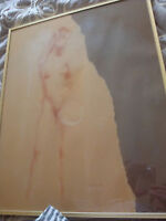 2 Stylized Nudes Elora Mill Street circa 1976 signed and framed