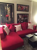 Magnifique sofa-futon sectionnel rouge