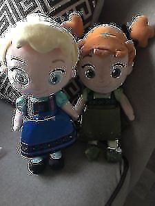 Great condition Anna & Elsa toddler style plush dolls