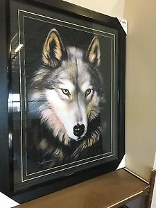 Framed Glass Wolf Picture
