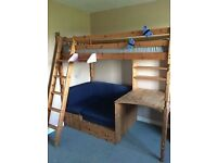 Pine high bed with desk and sofa bed