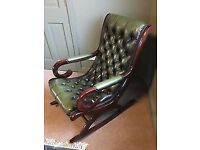 Green Leather Chesterfield Rocking Chair