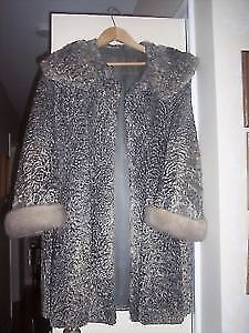 3/4 length Silver Persian Lamb with Mink cuffs coat-size 10